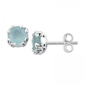 Sterling Silver Aquamarine Earrings by Samuel B.