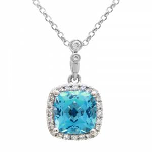 Blue Topaz & Diamond Pendant