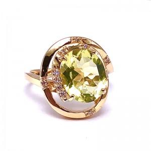 Estate Lemon Quartz And Diamond Ring