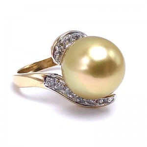 Estate  Pearl And Diamond Ring