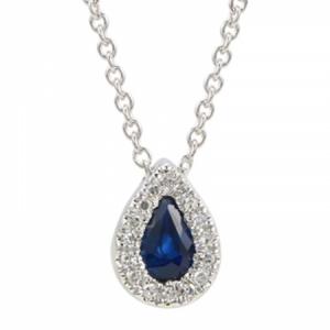 BLUE Sapphire & Diamond Pendant