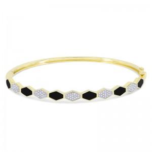 Inlaid Onyx & Diamond Bangle Bracelet