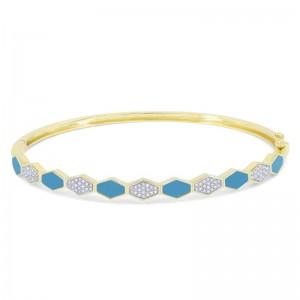 Inlaid Turquoise & Diamond Bangle Bracelet