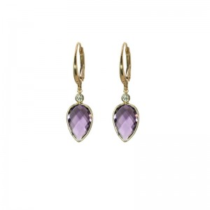 Amethyst  Earrings with Diamond Accent by Olivia B