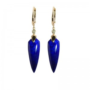 Shield Shape Lapis Earrings With Diamond Accent by Olivia B
