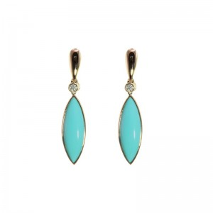 Marquise Turquoise Earrings With Diamond Accentsby Olivia B