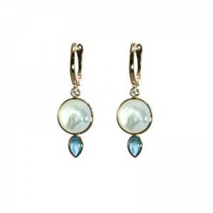 Mother of Pearl Round and Swiss Blue Topaz Earrings by Olivia B