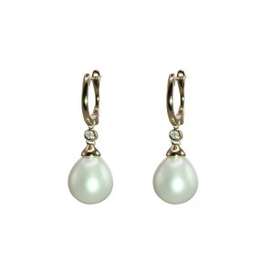Freshwater Pearl Drop Shaped Earring with Diamond Accent by Olivia B