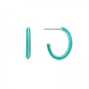 Ania Haie Teal Enamel Silver Hoop Earrings