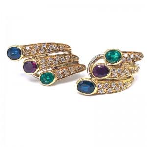Estate Hoop Gemstone & Diamond Earrings