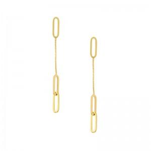 Paper Clip Long Dangle  Earrings