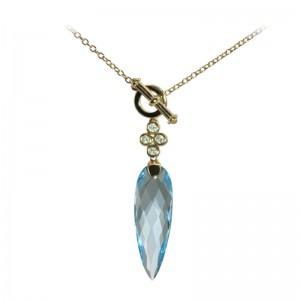 Sky Blue Topaz & Diamond Pendant by Olivia B