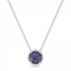 Alexandrite Created and Diamond Pendant