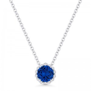 Blue Sapphire Created and Diamond Pendant