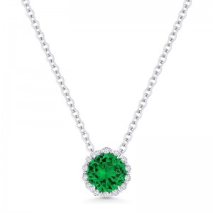 Emerald Created and Diamond Pendant