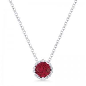 Ruby Created and Diamond Pendant