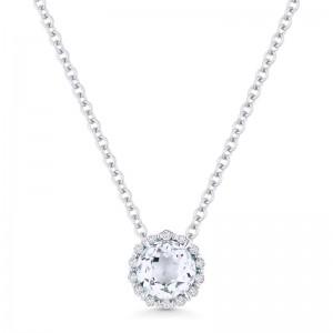 White Topaz & Diamond Pendant, .57Ct White Topaz, .04Ctw Diamonds In 14K White Gold