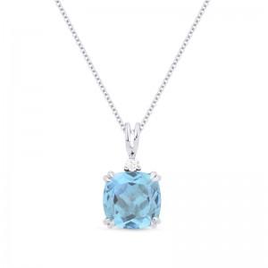 Blue Topaz & Diamond Pendant, 2.73Ct Blue Topaz, .03Ct Diamond In 14K White Gold