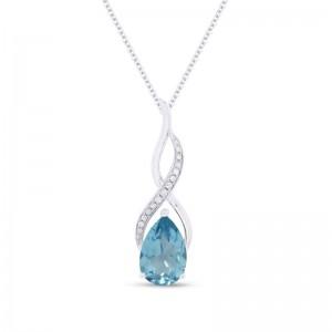 Swiss Topaz & Diamond Pendant