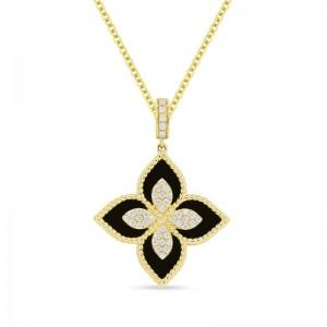 Diamond & Onyx Flower Necklace