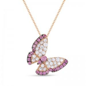 Pink Sapphire & Diamond Butterfly Necklace