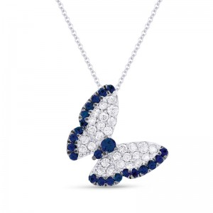 Sapphire and Diamond Butterfly Pendant