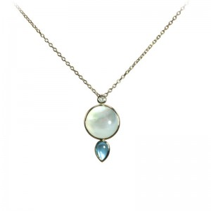 Mother of Pearl and Swiss Blue Topaz Pendant by Olivia B