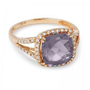 Pink Amethyst & Diamond Ring