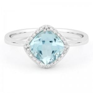 Blue Topaz & Diamond Ring