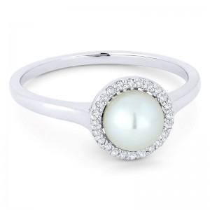 Pearl & Diamond Ring, .08Ctw Diamonds