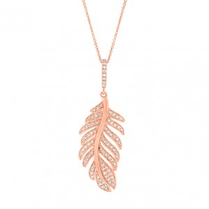 Diamond Feather Design Pendant