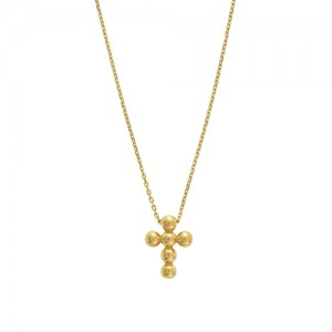 Small Bead Cross Necklace in 14K Yellow Gold