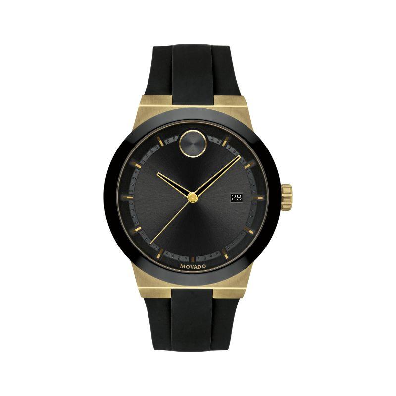 Movado Bold Quartz Black Dial Black Silicone Men's Watch
